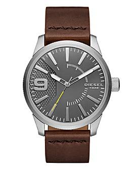 Diesel Gents Rasp Brown Leather Strap Watch