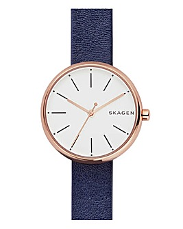 Skagen Ladies Signature Blue Leather Strap Watch