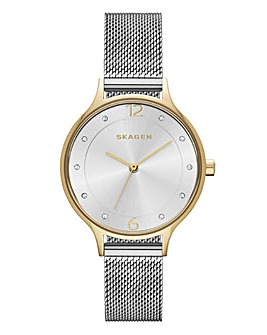 Skagen Ladies Anita Two Tone Steel Mesh Bracelet Watch