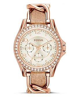 Fossil Ladies Riley Rose Tone Watch