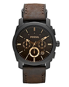Fossil Gents Machine Leather Strap Watch