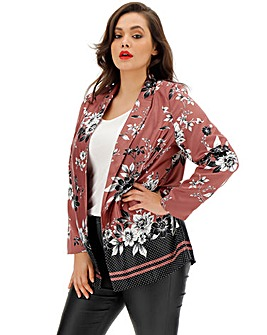 Floral Print Satin Statement Blazer