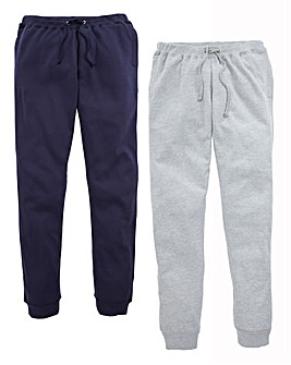 Capsule Pack of Two Grey/Navy Fleece Joggers 29in Leg