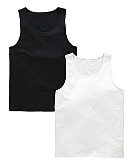 Pack Of 2 Black/White Vest Tops