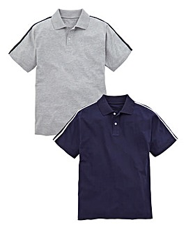 Capsule Pack of 2 Grey/Navy Polo Shirts