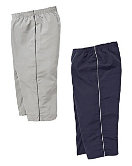 Capsule Pack of Two Navy/Silver 3/4 Length Joggers