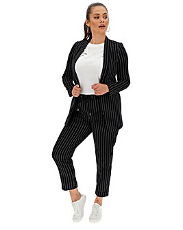 Navy Pin Stripe Turn Up Tapered Trousers