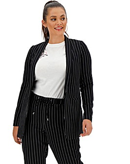 Navy Pin Stripe Shawl Collar Blazer