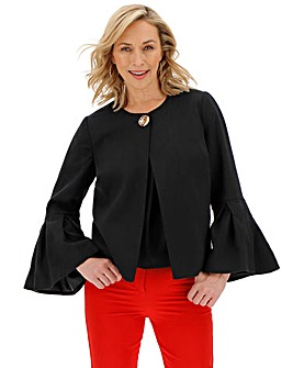 Black Frill Sleeve Statement Jacket