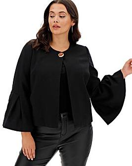 Black Frill Sleeve Statement Jacket