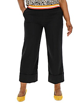 Wide Leg Crop Trousers with Turn Up