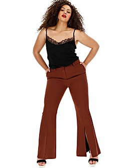 Wide Leg Flare Trousers with Split Hem