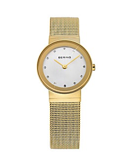 Bering Ladies Gold Plated Mesh Bracelet Watch