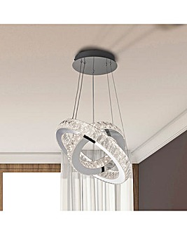Double Ring LED Ceiling Pendant with Diamond Pattern Acrylic Shade. D.40 + 28cm