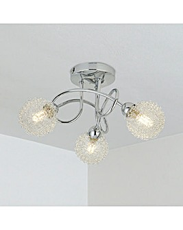 3LT Chrome Ceiling with Clear Glass & Aluminium ware Shade