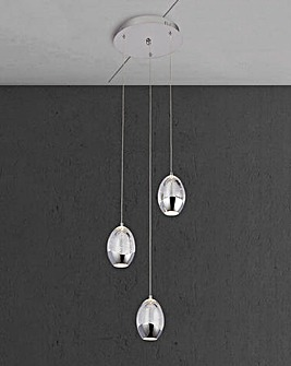 3LT LED Ceiling Multidrop with Bubble Glass Shades