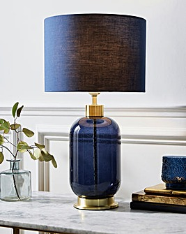 Blue Glass and Satin Brass Base Table Lamp