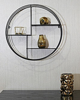 Black Circular Wall Mounted Shelf