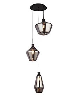 3LT Ceiling Multi-Drop with Smokey Glass Shades
