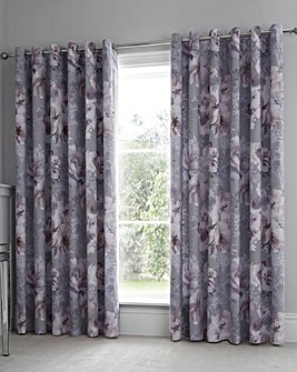 Catherine Lansfield Dramatic Floral Eyelet Curtains