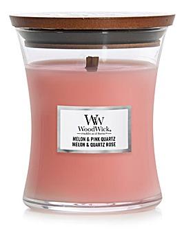Woodwick Medium Hourglass Melon and Pink Quartz
