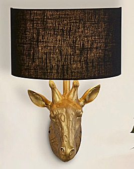 Giraffe Head Wall Lamp with Black Shade