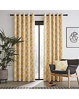 Catherine Lansfield Geo Textured Diamond Eyelet Curtains