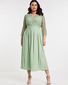 Little Mistress Crochet Midaxi Pleated Dress