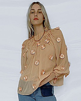 French Connection Aziza Lace Floral Blouse