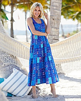 Patchwork Print Tiered Jersey Maxi Dress