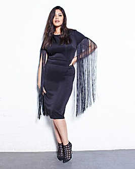 Lavish Alice Fringe Sleeve Midi Dress