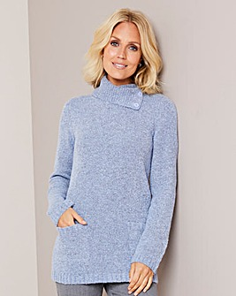 Julipa Pale Blue Boucle Cowl Neck Jumper