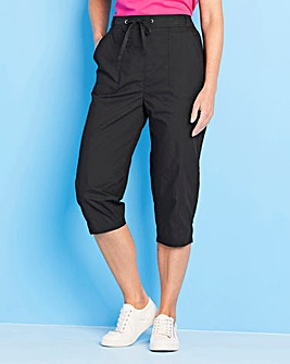Pull On Cotton Cropped Trousers