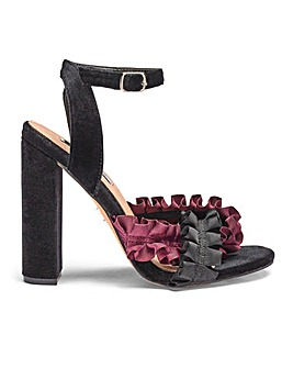 Lost Ink Wide Fit Ruffle Block Heel