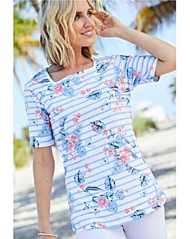 Julipa Square Neck Stripe Cotton T-Shirt