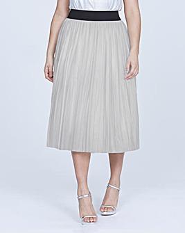 Elvi Silver Pleated Skirt