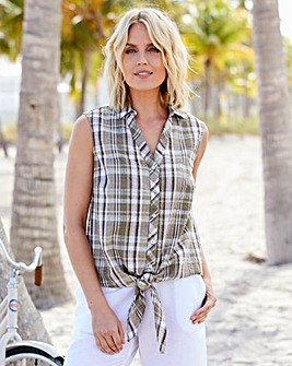 Sleeveless Check Blouse