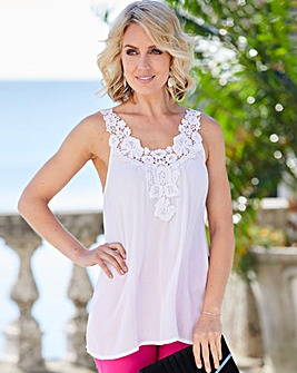 Crinkle Crochet Trim Cami Top