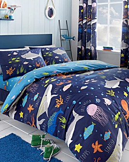 Bedlam Glow Sea Life Reversible Duvet Set
