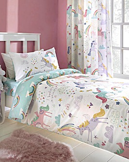 Bedlam Rainbow Unicorn Reversible Duvet Set