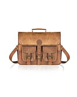 Woodland Leather Satchel Briefcase 14.5""