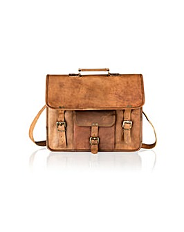 "Woodland Leather 15"" Satchel Briefcase"