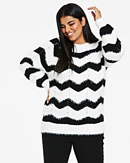 Chevron Stripe Fluffy Jumper