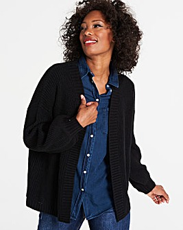 Black Dropped Shoulder Cardigan