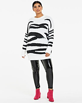 Brushed Zebra Tunic with Sequin Detail