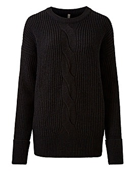 Black Cable Crew Neck Jumper