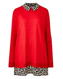 Leopard Print Woven Collar Jumper