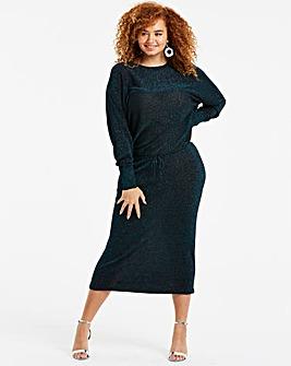 Teal Metallic Batwing Knitted Dress