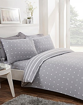Spot Stripe Grey Brushed Cotton Reversible Duvet Set