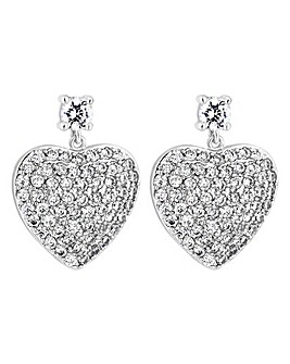 Jon Richard Pave Heart Drop Earring